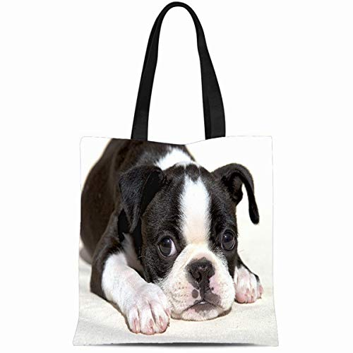 (Ahawoso Canvas Tote Bag 14x16 Inches Cute Tummy Boston Terrier Puppy Black White Durable Reusable Custom Shopping Shoulder Grocery Bag)
