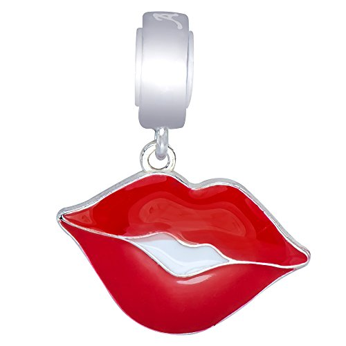 925 Sterling Silver Hot Lips Kiss Rolling Stones Dangle Charm Bead Fit European (Kiss The Elder Costumes)