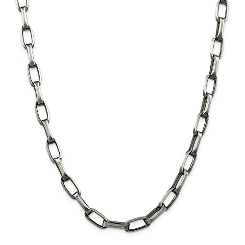 Mia Diamonds 925 Sterling Silver Solid 8mm Antiqued Oval Link Necklace -20