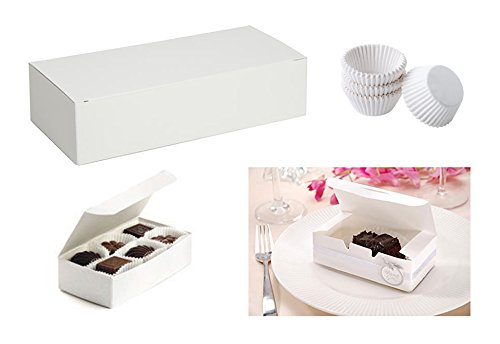 """Mini Cupcake Liners White & Candy Nuts Box Packaging Bundle for Truffles, Cake, Chocolates, Wedding & Party Favors & Gifts. 24 Truffles Boxes 5.5"""" & 350 Cupcake Liners (Prima Favor Box)"""