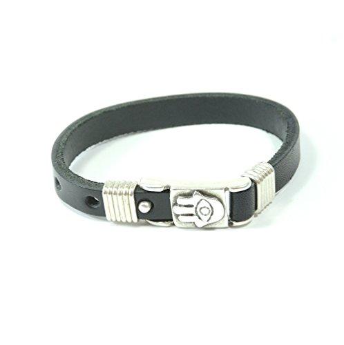 - MIZZE Made for Luck Men's Adjustable Evil Eye Protection Black Leather Bracelet with Hamsa Hand Charm