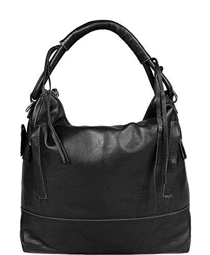 65cb8a0675af3 Schöne praktische Leder Schwarze Handtasche aus Leder Gloria Nera über die  Schulter
