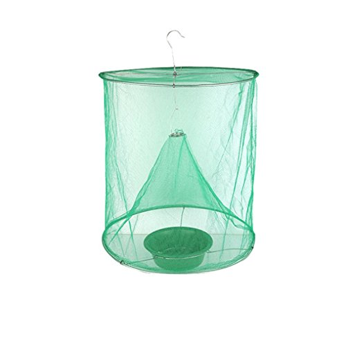 Sunyastor Flytrap Cage Net Trap with Bait Basin Pest Control Reusable Hanging Fly Catcher Killer Asp Insect Trapping Garden Supplies (Ftd Natural)