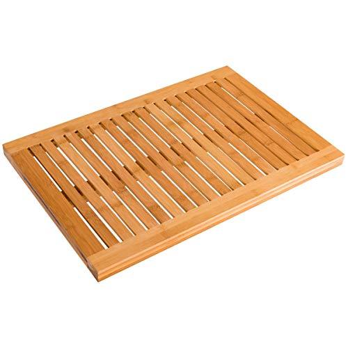 Deluxe 100% Natural Bamboo Bathroom Shower Kitchen Floor Mat Non-Slip Anti-Slip Luxury Smooth Finish slatted Board (24