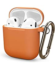 Ellenne Silikonowe etui ochronne, wąskie, kompatybilne z Apple Airpods 1 i 2, odporne na zarysowania + haczyk