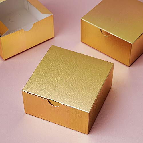 Efavormart 100pcs of 4x4x2 Gold Cake Box for Candy Treat Gift Wrap Box Party Favor Boxes for Bridal Shower Wedding Party