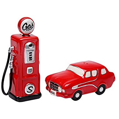 StealStreet SS-CG-62520 3.5  Old Fashion Red Car and Gas Pump Salt and Pepper Shakers