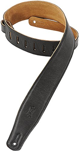 Levy's Leathers M26GF-BLK 2.5-inch Strap with Garment Leather Top, Black