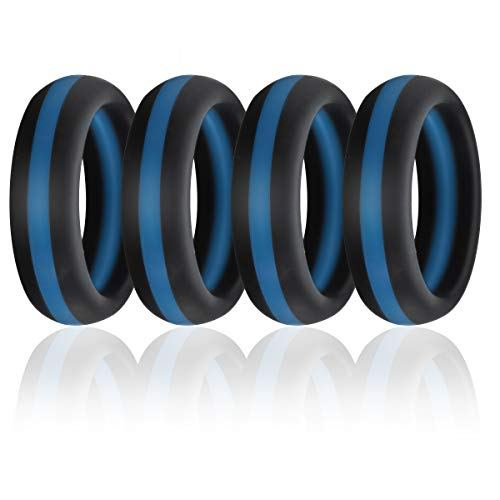 Silicone Wedding Band Ring,Flexible Comfortable Rubber Thin Blue Line Ring for Women Men,4 Pcs (Men 9 Size)]()