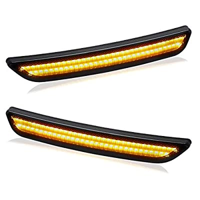 RUXIFEY Front LED Side Marker Lights Smoked Lens Compatible with 2010-2014 Ford Mustang Amber - Pack of 2: Automotive