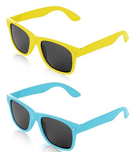 Wayfarer Polarized Sunglasses for Men and Women Retro Vintage Yellow Blue Sun Glasses 2 - Yellow Wayfarer Sunglasses