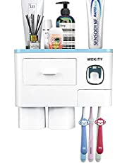 Wekity Multifunctional Wall-Mounted Toothbrush Holder, Automatic Toothpaste Dispenser Space Saving Toothbrush Organizer with Dust-Proof Cover, Cups and Drawers Cosmetic Organizer