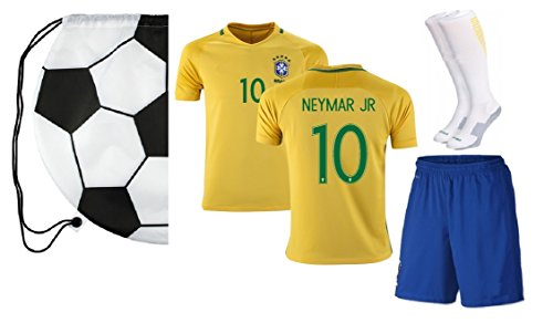 Brazil Neymar #10 Home Kids Soccer Jersey All Youth Sizes Ages (9-13)