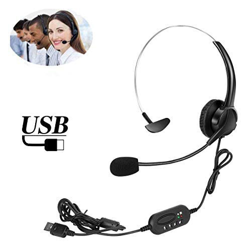 USB Computer Headset with Microphone, Elikliv USB Telephone Headphones with Mic Noise Cancelling & Volume Control…