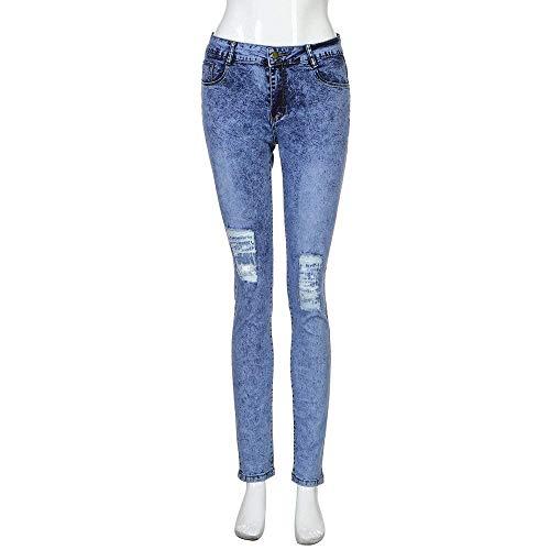 De Inconformista Estilo La Vaqueros Del Blau Flojos Casuales Pantalones Manera Atractivos Señoras Stretch 8WOctW
