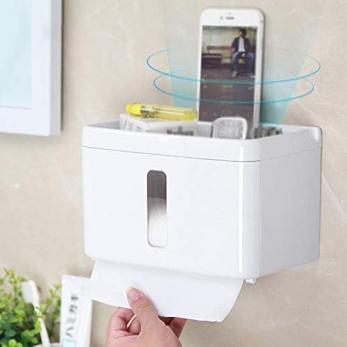 ポータブルトイレットペーパーホルダー、電話棚付きウォールマウントティッシュラック、バスルームキッチン用防水トイレットペーパーホルダー