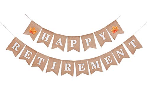 Rustic Happy Retirement Burlap Banner | Men and Women Retired Decorations Flag | Dad and Mom Retirement Backdrop | Party Supplies and Favors Gift Ideas|Pre-Strung No Need DIY -