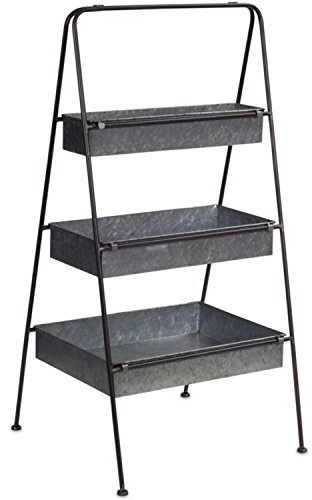 """Decorative Gray Rectangle Standing Indoor and Outdoor 36""""H Triple Floor Shelf by Melrose"""