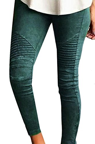 Yoga Products : Rrive Womens Biker Skinny Ankle Zipper Pleated Stretch Low Waist Pencil Pants