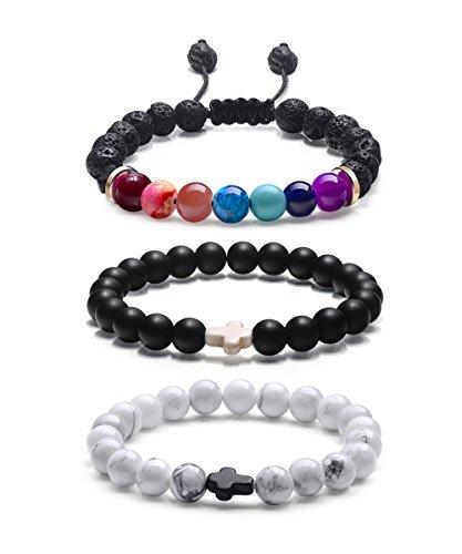 7.25' Link (Essential Oil Bracelets for Women, Yoga Meditation Prayer Chakra Lava Rock Stone Stretch Bracelet (Set of 3))