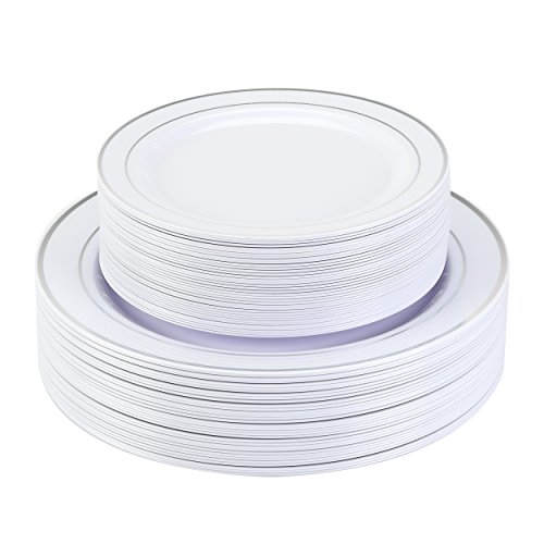 "Premium Disposable Plastic Plates 240 Pack (120 x 10.5"" Dinner + 120 x 7.5"" Salad/Desert) White with Silver Rim by Finest Cutlery for Weddings, Parties, and Special Occasions. by Finest Cutlery"