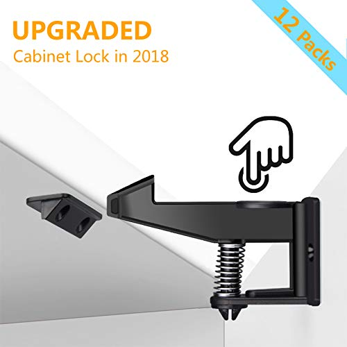 uowlbear Child Safety Drawer Locks, Baby Proof Cabinet Locks Latches with Adhesive and 48 Screws -12 Packs Black by uowlbear (Image #7)