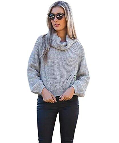 YOUJIA Mujeres Elegante Suéteres - Cuello Alto - Casual Crop Tops Prendas Punto Jersey Suéter Azul Gris