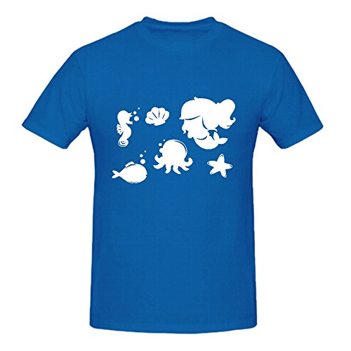 Cartoon Mermaid Silhouettes Vector T Shirts Men Crew Neck Blue Screen Printed (Booty Girl Pirates)