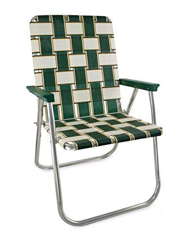 OKSLO Aluminum webbed chair (charleston pattern with green arms) Model d2390 ()