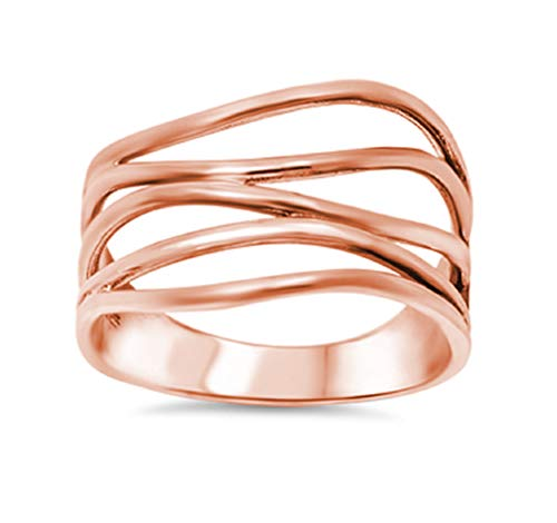 - CloseoutWarehouse Rose Gold-Tone Plated Sterling Silver Crooked Lines Filigree Ring Size 8