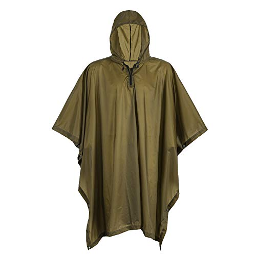 OneTigris Draconis Multicam Poncho, Lightweight Military Style Raincoat, Ripstop Rain Poncho (Coyote Brown)