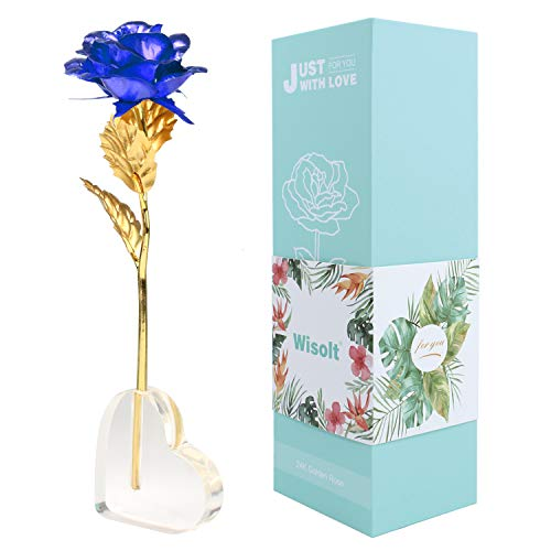 Wisolt 24K Gold Rose Flowers, New Upgraded Long Stem Gold Foil Rose with Heart Shaped Display Stand, Unique Gifts for Her, Girls, Wife, Mum