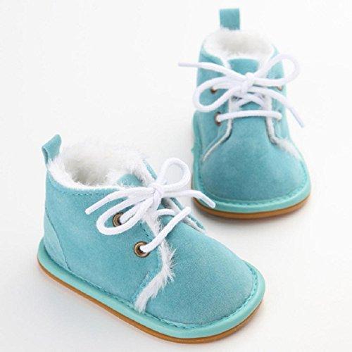OverDose Baby-Kleinkind -Säuglings Schnee Stiefel Schuhe Gummisohle Prewalker Krippe Schuhe 0-6 Monate 6-12 Monate 12-18 Monate Himmelblau