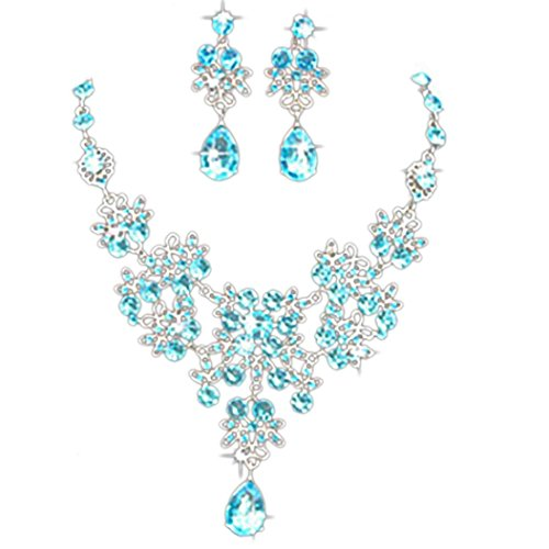 Mandystore Prom Wedding Bridal Jewelry Sets Crystal Rhinestone Necklace Earrings Jewelry Sets (Sky Blue) (Sky Blue Necklace Bubble)