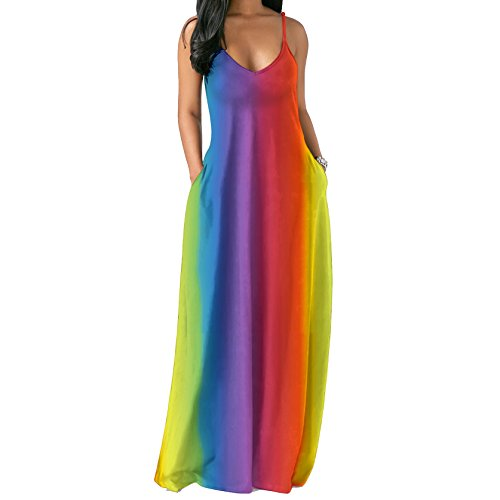 - Ytwysj Women's V-Neck Spaghetti Straps Sleeveless Tie Dye Multicolor Rainbow Tapered Color Striped Boho Maxi Beach Dress