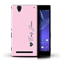 Personalized Custom Pastel Tones Case for Sony Xperia T2 Ultra / Pink Heart Design / Initial/Name/Text DIY Cover