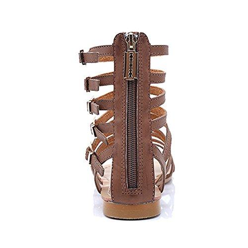 Btrada Kvinna Fotled Rem Platta Sandaler Tillbaka Zip Mode Ihåliga Sandaler Brun