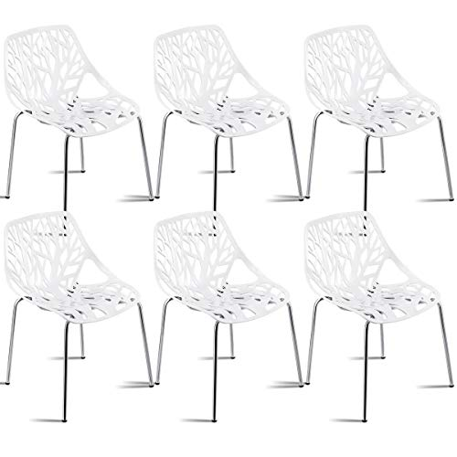 n-bright shop Chairs Modern Design Birch Sapling Plastic Dining Side Chair Accent Armless Set of 6 - Mahogany Chippendale Style Side Chair