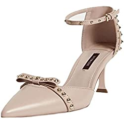 Uterque (Zara) Women Beige studded leather shoes 5072/251 (38 EU | 7.5 US | 5 UK)