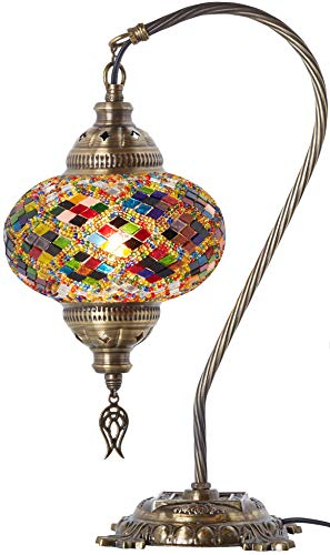 (33 Colors) DEMMEX 2019 Turkish Moroccan Mosaic Table Lamp with US Plug & Socket, Swan Neck Handmade Desk Bedside Table Night Lamp Decorative Tiffany Lamp Light, Antique Color Body - Lamp Table Purple Mosaic
