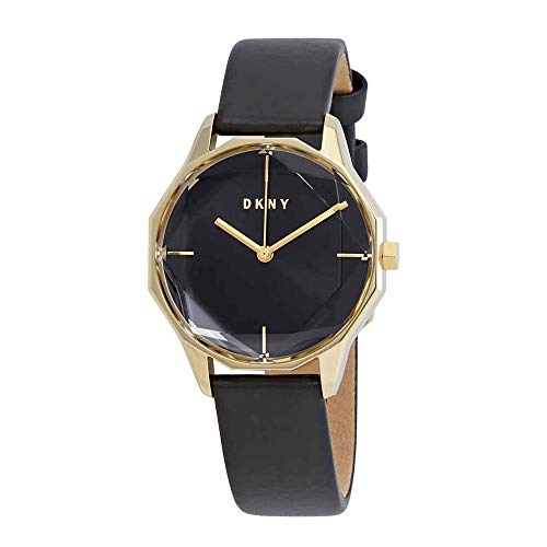 DKNY Cityspire Quartz Black Dial Black Leather Ladies Watch NY2796