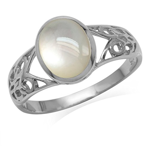 Silvershake Mother Of Pearl White Gold Plated 925 Sterling Silver Filigree Solitaire Ring Size 7