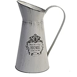 Watering Honey French Style Country Rustic Primitive Jug Vase Metal Flower Vase Pitcher for Wedding Home Garden Decor-Grey