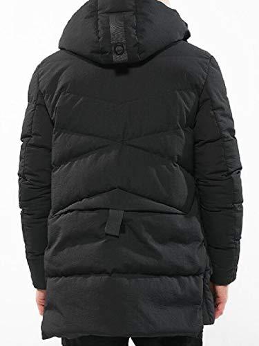 Hooded Down Warm Length Padded Men's Jacket Mid Black Thick EKU Cotton Winter SqnfBxwO