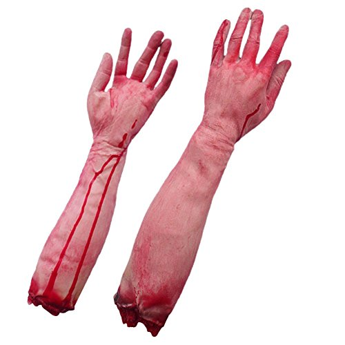 LETSQK Fake Severed Hands Feet Arm Legs Bloody Broken Body Parts Halloween Props D -
