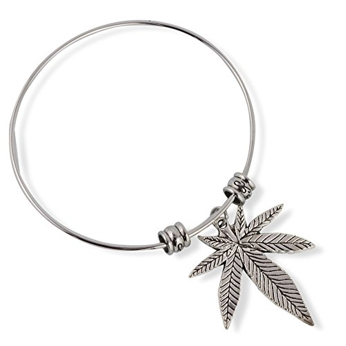 Cannabis Marijuana Leaf Fancy Charm Bangle
