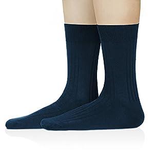 David Archy Men's 6 Pack Drop Needle Knit Dress Socks (10-13, Navy Blue/ Drop Needle)