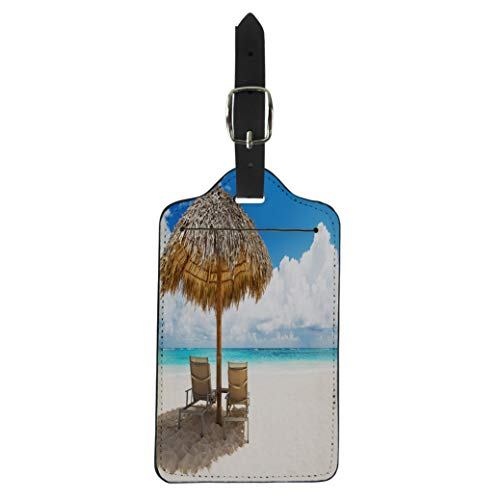 Semtomn Luggage Tag Beach Chairs Umbrella and Beautiful Sand in Punta Cana Suitcase Baggage Label Travel Tag Labels