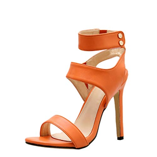 KLGDA Women's Summer Fashion Casual Fluorescent Sandals Solid Color high Heels Shoes Orange