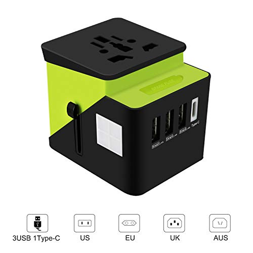 Universal Travel Adapter, Cypropid Travel Power Converter, All in One Travel Charger with 3 USB & 1 Type-C 3.4A, International Power Adapter for US, UK, EU, AU, Over 200 Countries (Green)